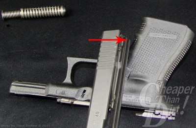 Glock slide atop the frame