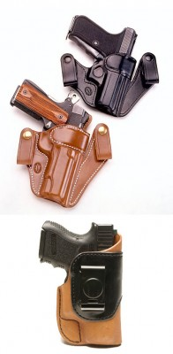 To carry his full-size 1911, the author prefers the Milt Sparks Versa Max 2, top, a leather ITW holster. He carries his Glock 19 in Dillon Precision's Clipper-DL, bottom, also an inside-the-waistband leather holster. Click here to see our selection of holsters.