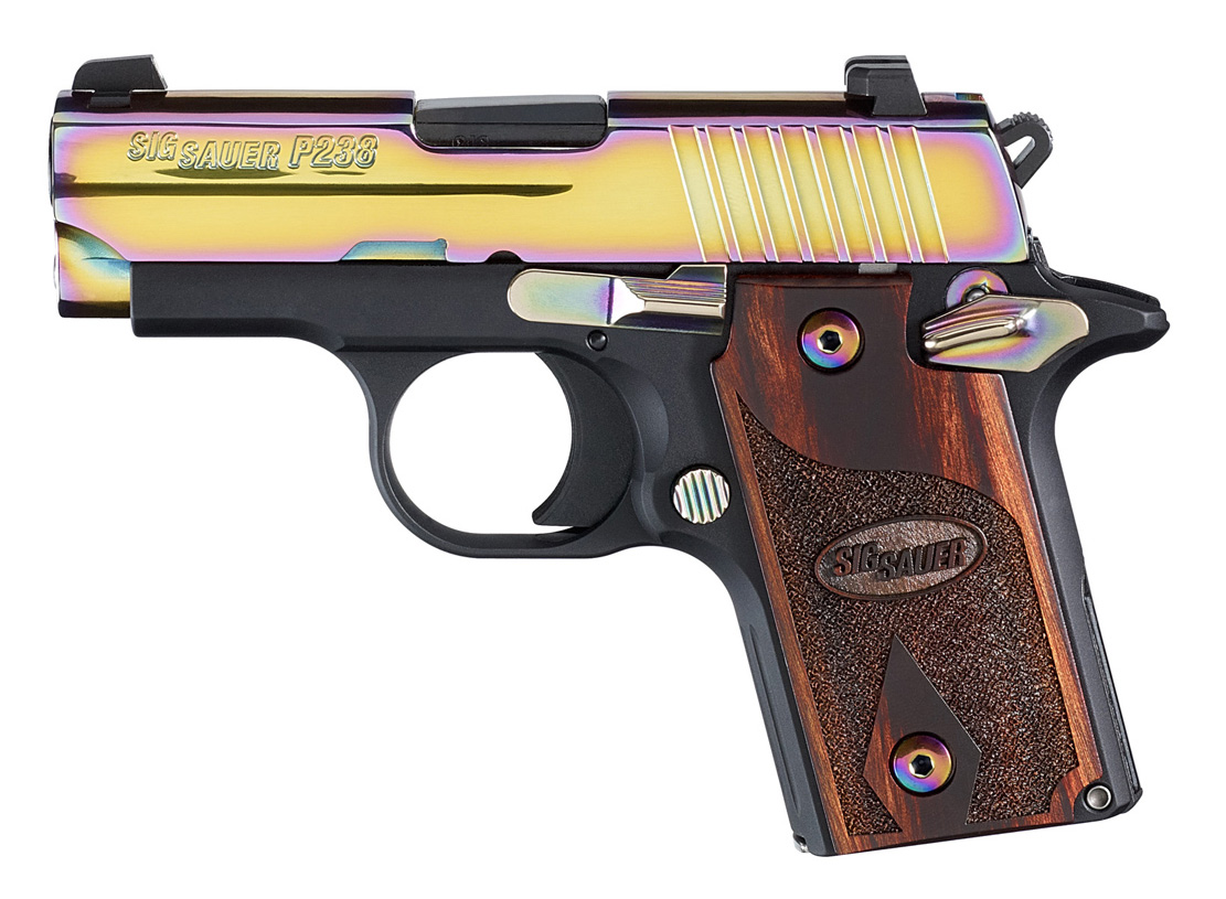 SIG Sauer P238 semiautomatic subcompact pistol with black frame, wood grips and rainbow titanium slide