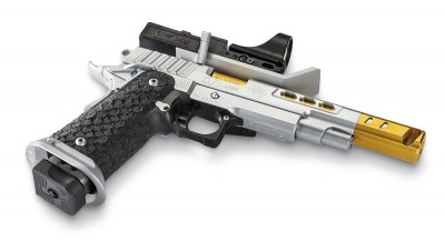Black, stainless with gold barrel competition pistol