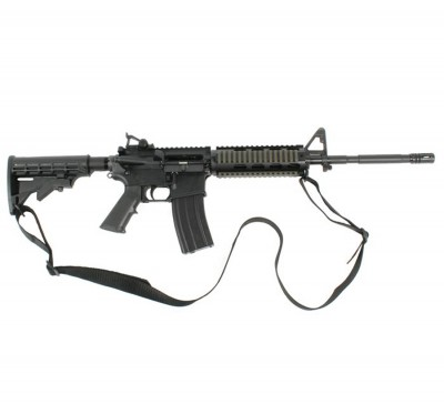 Black two-point tactical sling on an AR-15