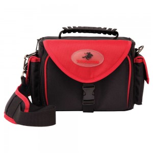 Black and red range bag with padded shoulder strap and Winchester logo
