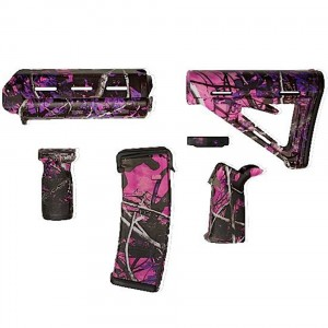 Magpul AR-15 furniture set including PMag and trigger guard finished in pink Muddy Girl camo
