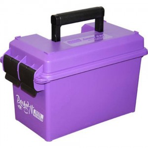 Purple plastic ammo can with black handle