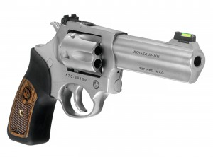 Front view of Ruger's SP101 .327 Federal Magnum revolver in stainless steel