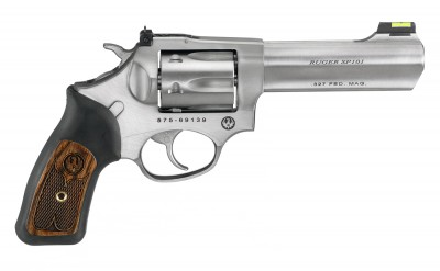 .327 Federal Magnum revolver by Ruger with stainless barrel and black rubber grips with a wood insert