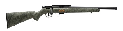 Savage bolt-action rifle with synthetic stock finished in gator camo