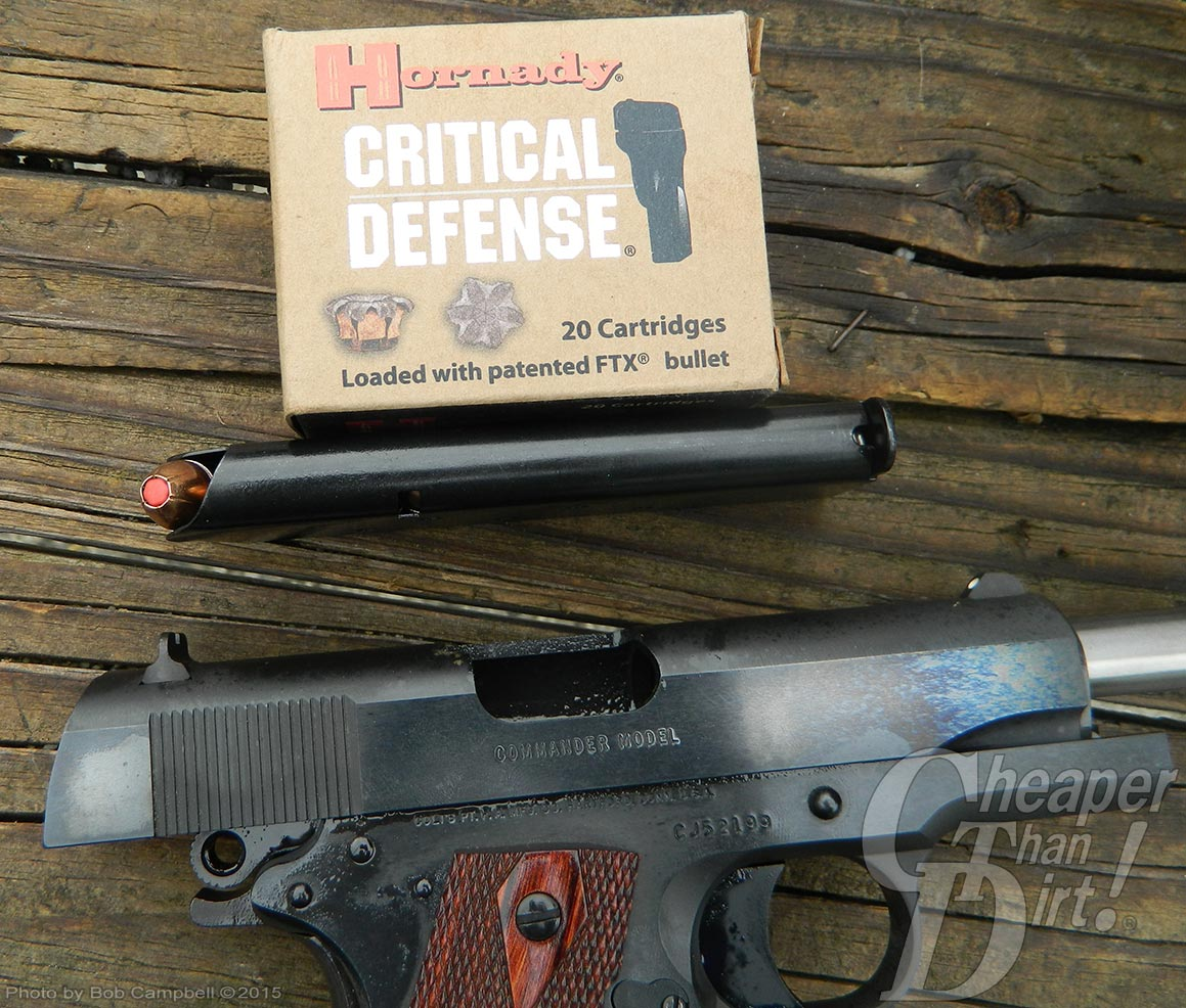 Colt Commander with Hornady Critical Defense ammunition