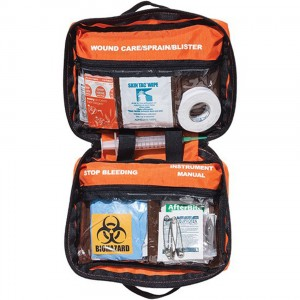 First aid kit with soft orange case and labeled pouches