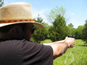 A man shooting the Glock 42