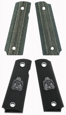 If you've got factory handgun grips (bottom) that are slick, then consider purchasing a textured set of grips, such as the VZ Gator Back grips (top) or others listed on Cheaper Than Dirt!