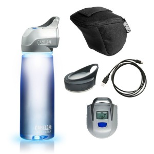 UV light water purifying system with clear water bottle