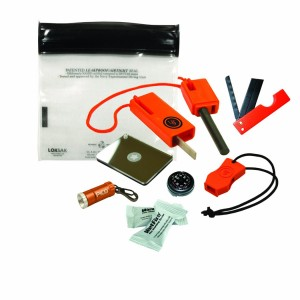 Micro survival kit with orange fire starter, orange mini flashlight, waterproof bag and signal mirror