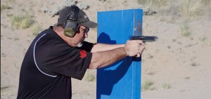 "Here, Rob Leatham uses a strong upper triangle to overcome recoil. He advises, ""You can't learn to control recoil without having to control recoil."""