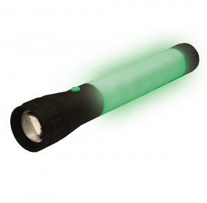 Black flashlight with rubberized glow in the dark wraparound grip