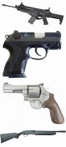 Beretta rifle, Beretta PX4 Storm pistol, revolver, shotgun