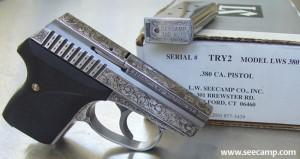 Engraved Seecamp .380 pistol.