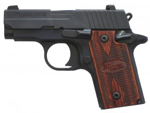 Black-framed SIG P238 pistol with rosewood grips
