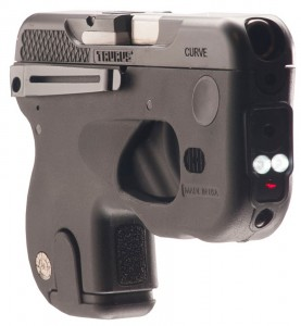 Taurus curved pistol with integral pocket clip, laser and light sighting system