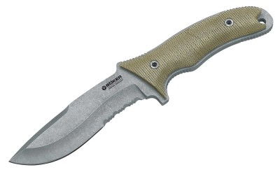 Green-handled fixed blade Boker knife