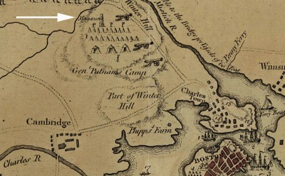 """The Powder House is located near the northern edge of this detail from a 1775 map of the Siege of Boston. It's called a """"Magazine."""" Image courtesy of the the Tenth Amendment Center."""