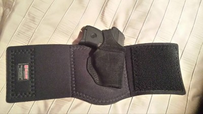 Galco ankle holster with Ruger LCP inside.