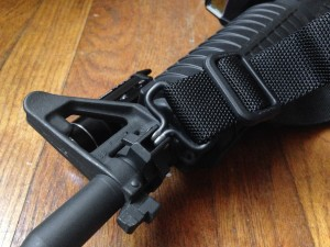 Close up of sling swivel attached to AR-15