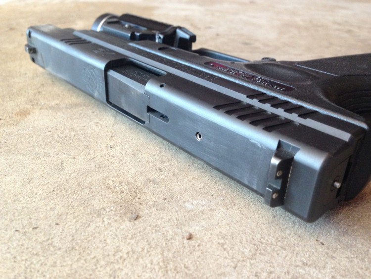 Close up of the slide on a Springfield XD .45
