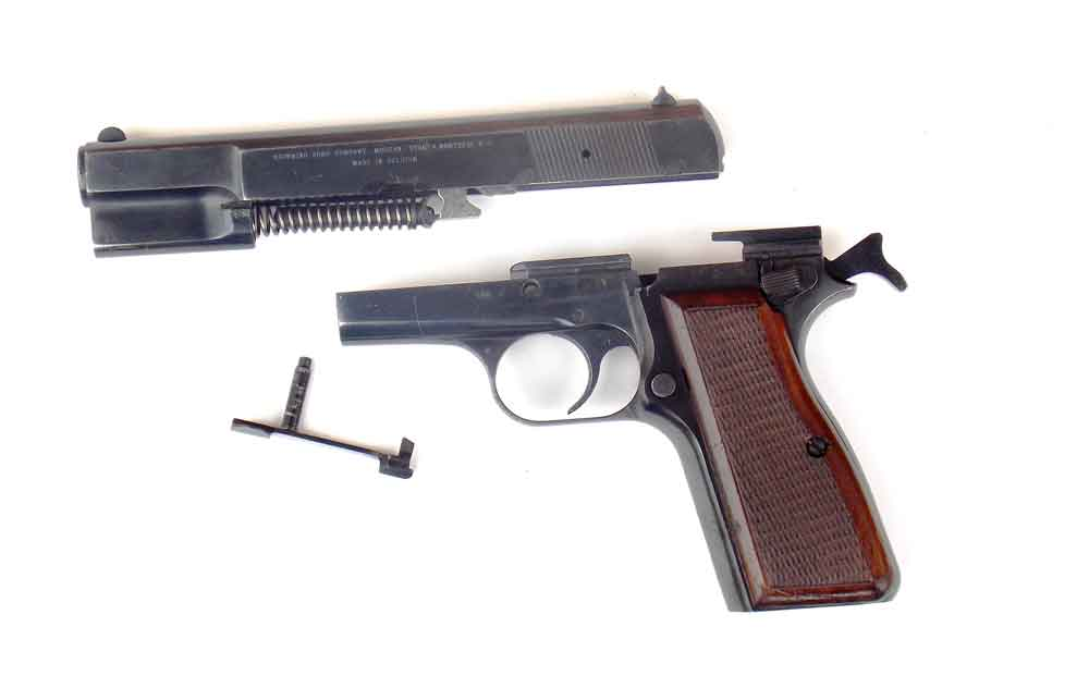 Fieldstripped Browning Hi Power pistol