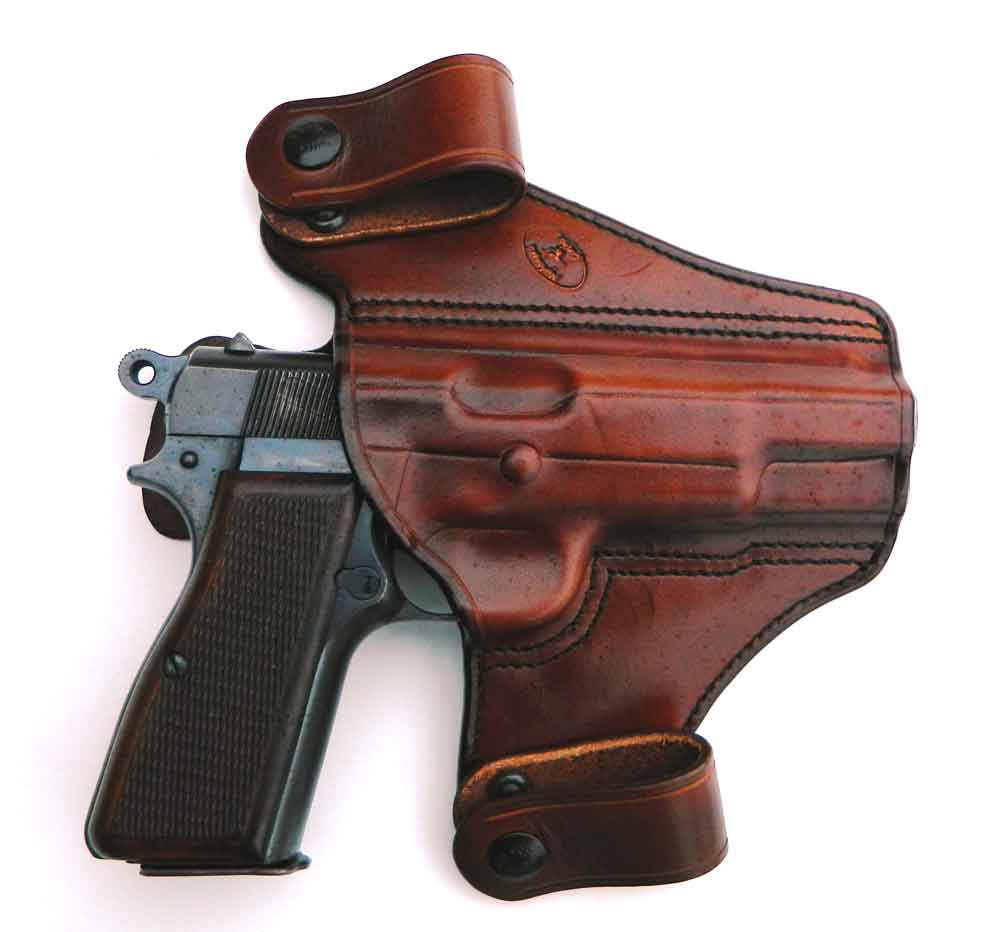 Browning Hi Power in leather IWB holster
