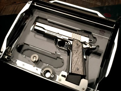 Cabot Guns has previously made some components from meteoric materials, such as the grips on this pistol.