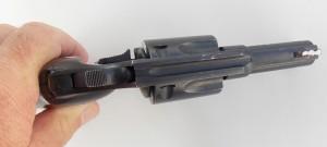 Close up highlighting Charter Arms' Bulldog revolver sights