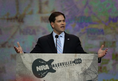NASHVILLE, TN - APRIL 10:  U.S. Sen. Marco Rubio (R-FL) speaks during the NRA-ILA Leadership Forum at the 2015 NRA Annual Meeting & Exhibits on April 10, 2015 in Nashville, Tennessee. The annual NRA meeting and exhibit runs through Sunday.  (Photo by Justin Sullivan/Getty Images)