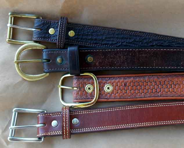 Four leather gun belts