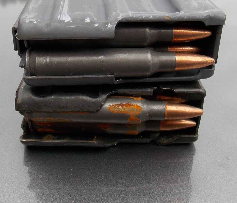 Rusty steel case ammunition
