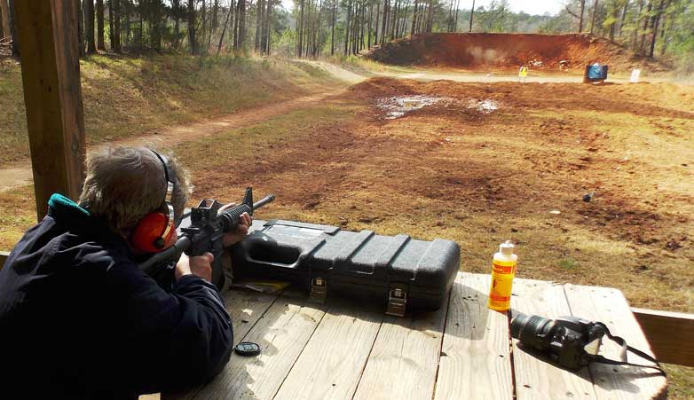 Bob Campbell shooting AR-15 off hard rifle case
