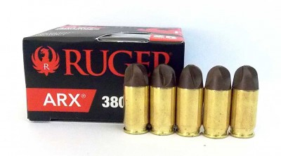 Box of Ruger ARX ammunition with 5 bullets lined in front