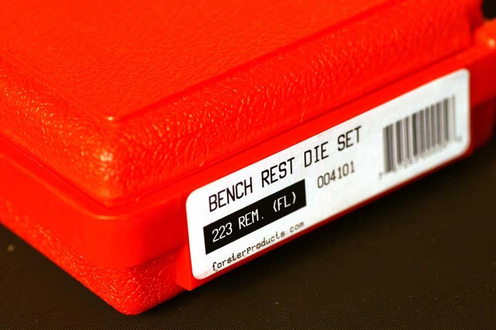 Red plastic Bench Rest Die Set box