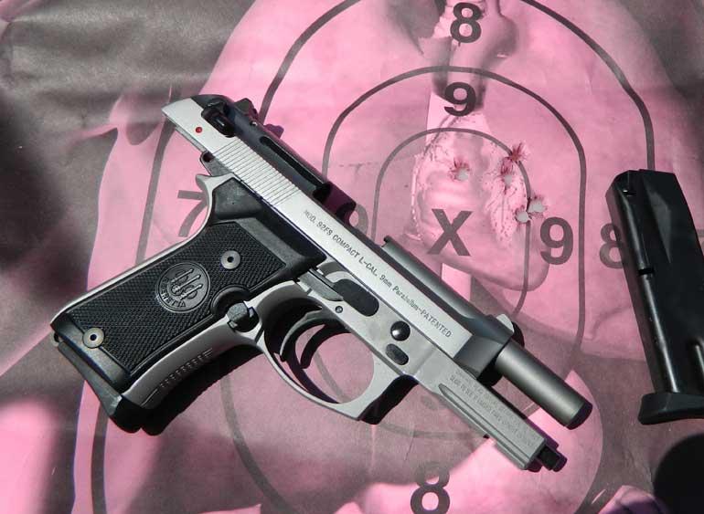Beretta 92 on a pink target
