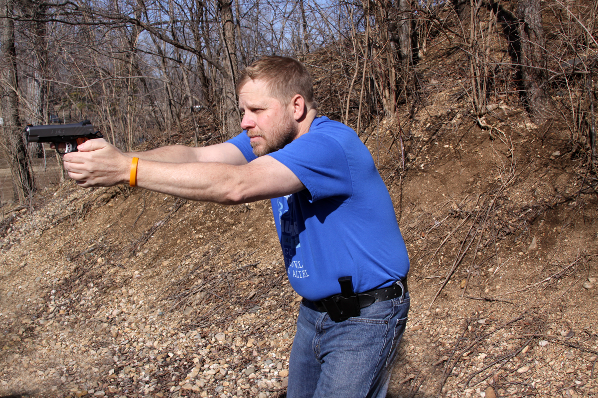 Dave Dolbee shooting the EMP 4 9mm pistol