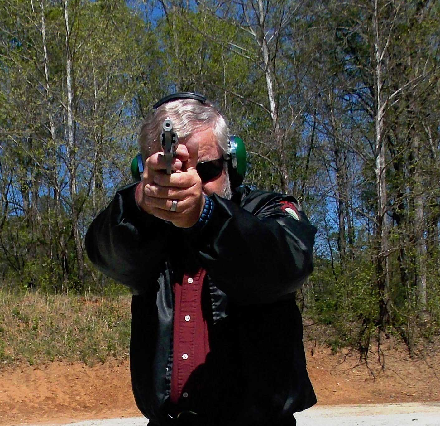 Bob Campbell shooting a Charter Arms Pathfinder two handed.