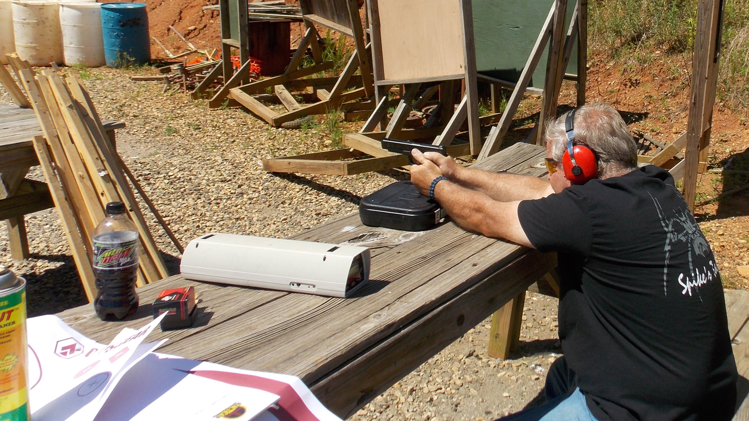 Bob Campbell firing the Glock 35 from the bench