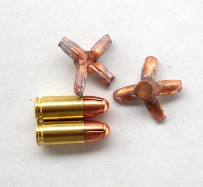 Two regular round and 2 expanded bullets