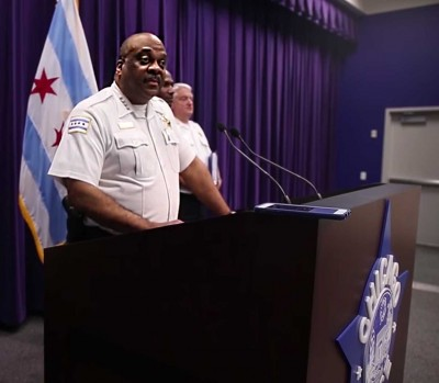 Chicago Police Superintendent Eddie Johnson talking at press conference