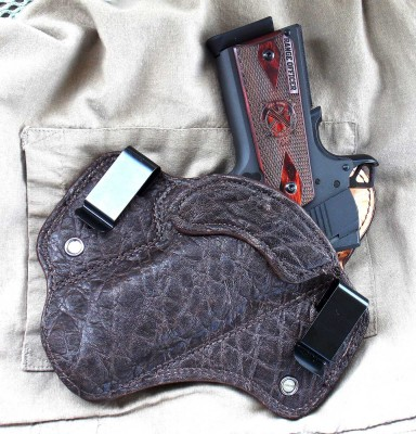 Springfield Range Officer pistol in DM Bullard Chocolate elephant leather holster
