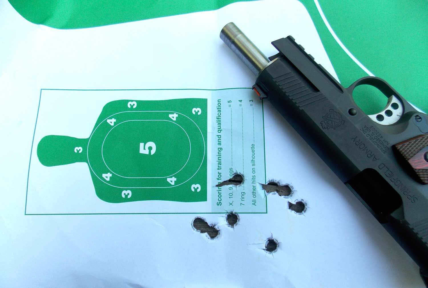 Paper target with bullet holes