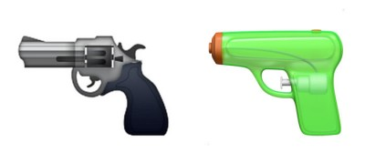 Apple revolver and water pistol emojis