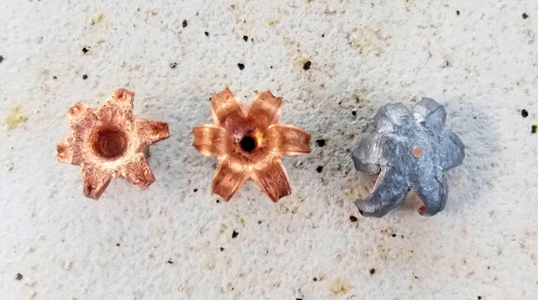 Left to right - 77-grain, 115-grain lead-free, and 115-grain JHP loads.