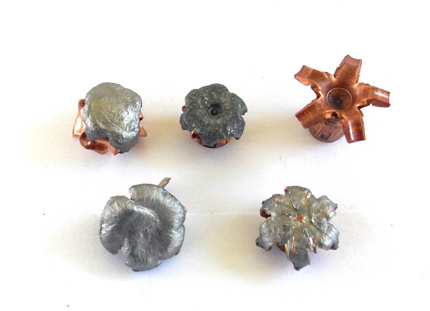 5 expanded 9mm bullets