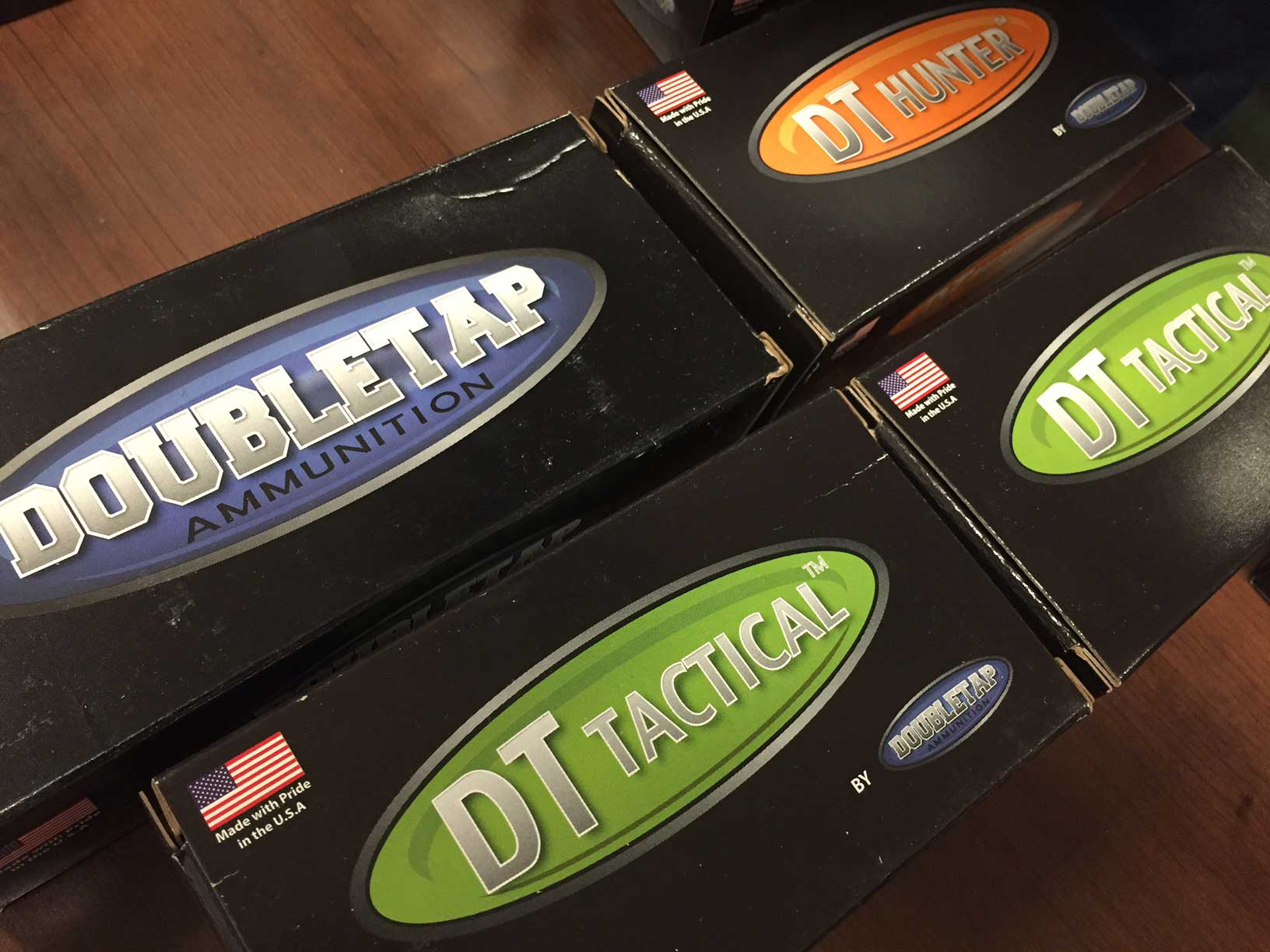 Boxes of DoubleTap Defense and tactical ammunition
